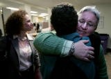 Sheila Schroeder is hugged by friend and supporter Frederique Chevillot  Monday, April 14th...