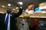 On a tour for the media,  Ken Belton, (cq) Sales Director points to a new direction at Borders at...