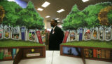 On a tour for the media,  Ken Belton, (cq) Sales Director standsbehind a 3-D display in the...