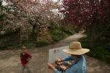 MJM909 Artist, Carolyn Miller (cq), center, paints blossoming crabapple trees Tuesday 04/29/08 at...