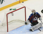DM0443  Colorado Avalanche Jose Theodore #60 watches a shot fly over his head against the Detroit...