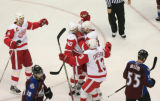 DM0849  The Detroit Red Wings celebrate a goal by Henrik Zetterberg #40, in the second period at...