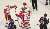 DM0850  The Detroit Red Wings celebrate a goal by Henrik Zetterberg #40, in the second period at...