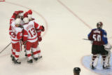DM0860  The Detroit Red Wings celebrate a goal by Henrik Zetterberg #40, in the second period at...