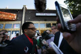Spike Lee arrives at Mezcal Restaurant in Denver, Colo. August 24, 2008.  They gathered to caucus...