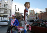 "(218)  John Stames of Denver shouts  "" Hillary will laugh last"" at passerbyes downtown..."