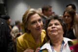 Lucy Moreno (cq) of Houston, Texas, has her picture made with Hillary Clinton after she spoke to...