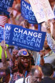 Colorado delegate Julia Hicks waves her Obama placard during the 2008 Democratic National...