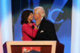 Sen. Ted Kennedy, D-Mass, gets a kiss from his wife Victoria Reggie, at the Democratic National...