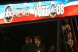 George Stephanopoulos is interviewed by ABC News at the Pepsi Center during the Democratic...