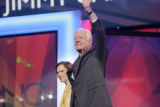 President Jimmy Carter and his wife Rosalynn on stage at the Pepsi Center during the Democratic...