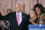 BG_0145 Vice Presidential candidate Joe Biden, his wife Jill and Michelle Obama hold a round table...