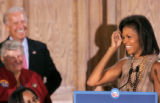 BG_0160 Michelle Obama lightens up the crowd as she introduces Vice Presidential candidate Joe...