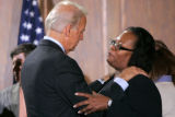 BG_0624 Vice Presidential candidate Joe Biden, left, listens to Leisha Neal, of Denver, after a...