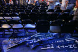 A pile of placards and signs lie in the walkway at the end of Sen. Hillary Rodham's speech Tuesday...