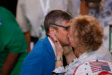 Political satirist Mo Rocca, working with The Tonight Show with Jay Leno, gets a kiss by a...