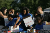 (PG0236) Michelle Obama launches a delegate service day at Curtis Park on Wednesday, August 27,...
