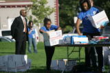 (PG0292) Michelle Obama launches a delegate service day at Curtis Park on Wednesday, August 27,...