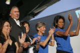 (PG0455) Michelle Obama launches a delegate service day at Curtis Park on Wednesday, August 27,...