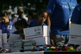 (PG0599) Michelle Obama launches a delegate service day at Curtis Park on Wednesday, August 27,...