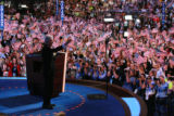 Former US President Bill Clinton addresses the delegates and expresses his support for Democratic...