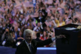 Former US President Bill's Clinton addresses the delegates and expresses his support for...