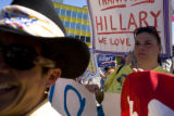 Theresa Sabatino,(cq) right, of Las Vegas, NV. was on of the many people supporting Hillary...