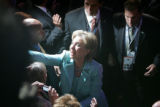Sen. Hillary Rodham Clinton wades through the crowds on the floor at the 2008 Democratic National...