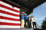 (PG0136) Michelle Obama launches a delegate service day at Curtis Park on Wednesday, August 27,...
