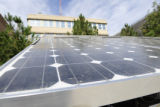 A solar panal gathers energy while on display at Photovoltaic Fun Beams Into the DNC held in...