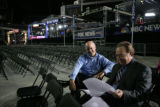 David Hunt (cq) and Gary Shapiro (right) (cq) of NBC 9 news prepare for their 5 a.m. morning show...