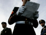 Jeff Key, of the Iraq Veterans Against the War, reads a letter to the media during a march to the...