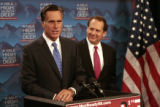 Former governor Mitt Romney and U.S. Rep Lincoln Diaz-Balart, left to right, spoke to the media,...
