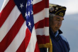 Kassel Weeks pauses for a moment of prayer during the Memorial Day observance on the Wind River...