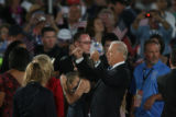 Democratic Vice Presidential candidate Joe Biden gives a yell after his running mate, Sen. Barack...
