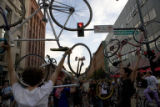 Bike protesters rally at 14th and Wazee streets. More than 2,000 bike protesters stormed downtown...