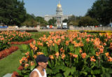 Benny Ochoa, 26, of Denver works on signage in Civic Center Park in preperation for the Taste Of...