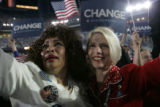 Ruby Tanner (left) and Molly Beth Malcom, both from Texas, cry and celebrate during Barack Obama's...