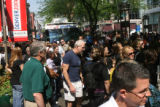 Police stooped the 16th street mall bus, to protect celebrates from the huge crowd gathering...