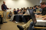 Professor Michael Kanner (cq) teaches Introduction to International Relations at the University of...