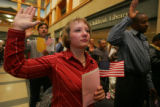Sabina Kohler (cq), 32, originally from Slovenia in eastern Europe, is sworn in as a U.S. citizen...