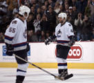 Vancouver Canucks' Todd Bertuzzi is greeted with boos as he takes the ice at the Pepsi Center...