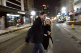 (Vernal, Utah) Jonathan and Amber laugh while crossing the street on a shopping trip after a...