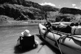 With the temperature hovering around 110 degrees Craig Beasely cools off in the Colorado River...