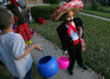 Miriah Hutchinson, 6, of Denver can't wait to get to Reigis University for a costume contest to...