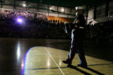 Before the biggest high school basketball game of the season in Rapid City, S.D., Marines...
