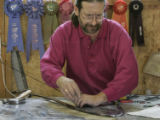 (Denver, Colorado, 11/3/2005) Mark Stine (cq) is a local stained-glass artist who's doing a...