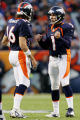 Denver Broncos kicker Jason Elam, #1, reacts to kicking a 47-yard field goal in the fourth quarter...
