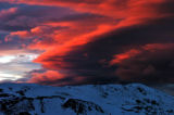 A spectacular sun set covers the snow covered Continental Divide Monday evening November 7, 2005....