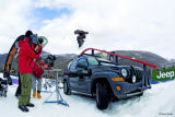 Filming a Jeep rail slide, from the film Higher Ground, by Warren Miller. 2005. Photo by Warren...